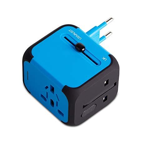 Adattatore da Viaggio con 2 USB 3.0 (US/EU/UK/AU) Adattatore Universale da Viaggio con due fusibile (fusibile di ricambio) Utilizzati in più di 150 paesi Caricabatterie (Azzurro/Blu)