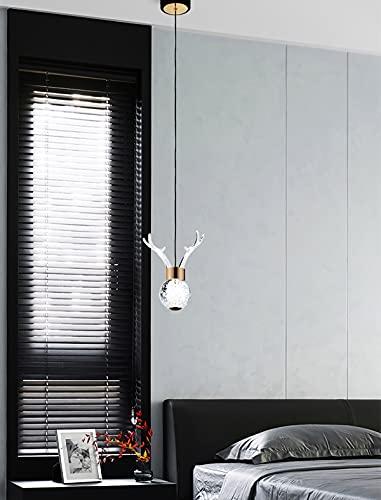 FLYFO Antlers Lámpara De Techo Moderna Pequeña Lámpara Colgante De Bola De Cristal Lámpara De Techo Colgante De Altura Ajustable Led 12w para Dormitorio, Sala De Estar, Mesita De Noche