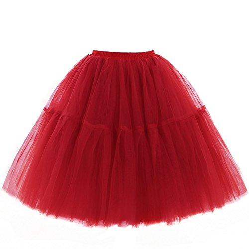 Babyonline Damen Tüllrock 5 Lage Prinzessin Kleider Knielang Petticoat Ballettrock Unterrock Pettiskirt Swing One Size - Rot