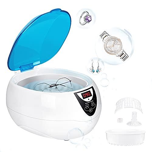Ultraschallreinigungsgerät, 750 ml Professioneller Ultraschallreiniger, 42 kHz Ultraschallreiniger 5 Timer-Reinigungsmodi für Brillen, Uhren, Ohrringe, Zahnersatz, Münzen, Schmuck