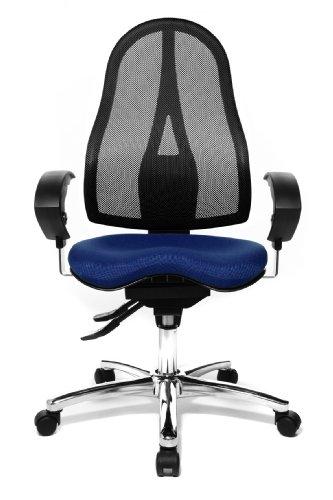 Topstar ST19UG26 Sitness 15, ergonomischer Bürostuhl, Schreibtischstuhl, inkl. höhenverstellbare Armlehnen, Bezugsstoff blau