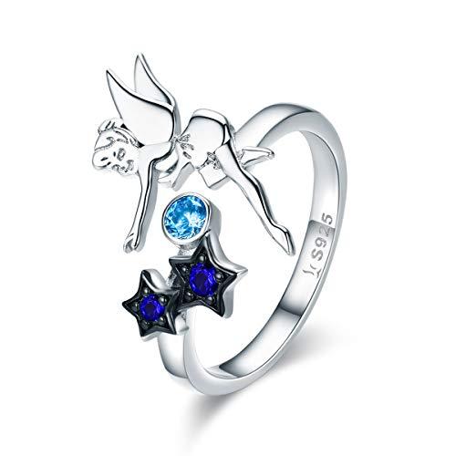 NEWL Anillo de plata de ley 925 con diseño de hada con estrella y circonita cúbica luminosa...