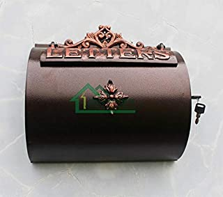 Bronzed Cast Iron Mailbox bronze mailbox/newspaper box/wall-mounted storage box rust newspaper/Villa mail