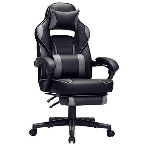 SONGMICS Gamingstuhl, Schreibtischstuhl mit Fußstütze, Bürostuhl mit Kopfstütze und Lendenkissen, höhenverstellbar, ergonomisch, 90-135° Neigungswinkel, bis 150 kg belastbar, schwarz-grau OBG073B03