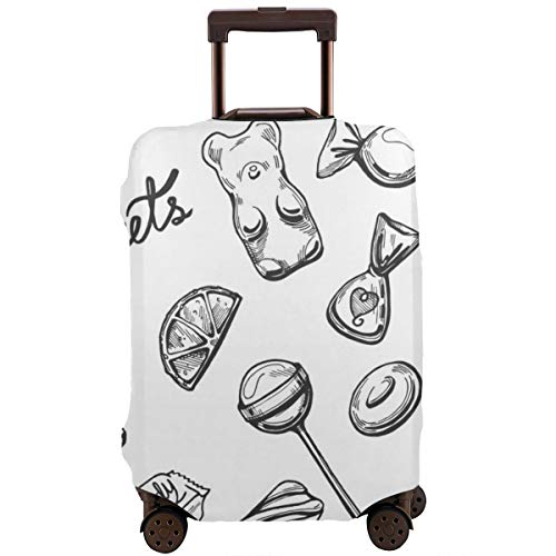 Travel Suitcase Protector, Sweets Set Chocolate Candies Lollipops Marshmallow Lozenges Marmalade Dragee Drops Vintage Hand Drawn Engraving Style,Suitcase Cover Washable Luggage Cover XL