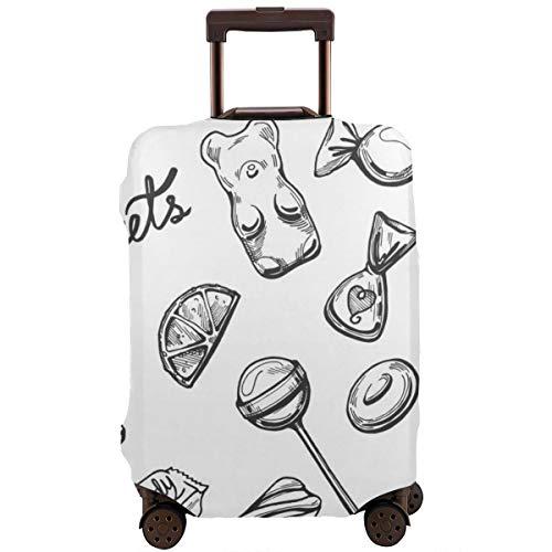 Travel koffer beschermer, snoepjes set chocolade snoepjes lolly's marshmallow zuigtabletten marmelade Dragee druppels vintage hand getekend graveren stijl, koffer cover wasbare bagage cover