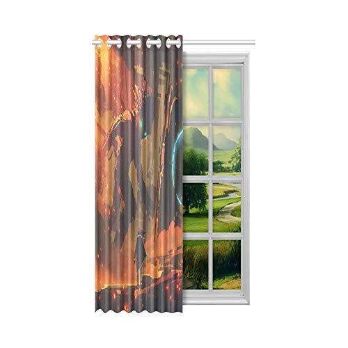 N\A Kurzfenster Vorhänge Biologische Station Science-Fiction-Zeichen Verdunkelungsvorhänge Panel 52x63 Zoll (132x160cm) 1 Panel Blackout Tülle Vorhang für Schlafzimmer Wohnzimmer