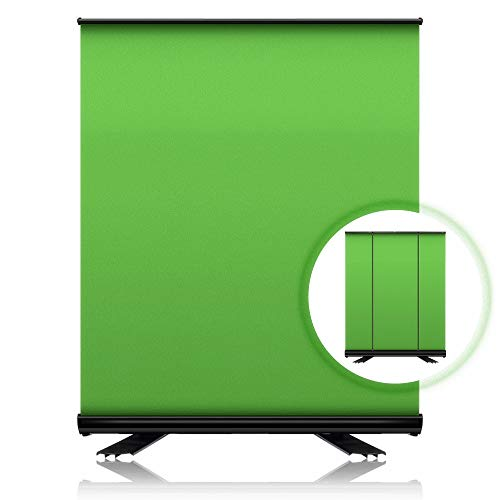ZUOCHEN Green Screen Backdrop Portable 3.6x6.6ft Collapsible Chromakey Background Panel with Solid Aluminium Shell, Pull Up Wrinkle-Resistant Fabric for Twitch Streaming, Videos, Live Game
