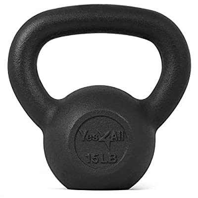 Yes4All Solid Cast Iron Kettlebell Weights Set – Great for Full Body Workout and Strength Training – Kettlebell 15 lbs (Black) from Yes4All