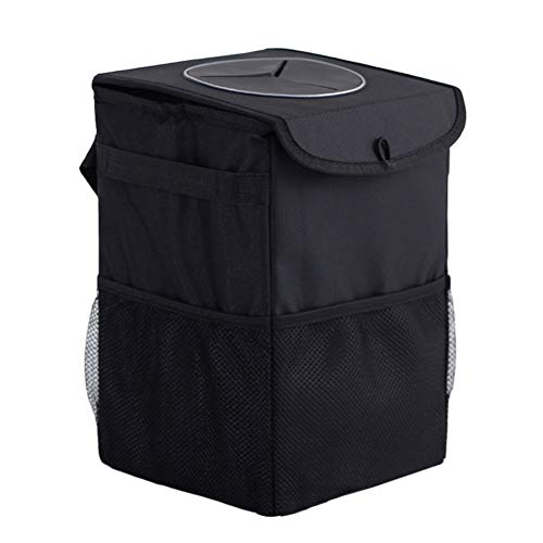 Black and Brown Vosarea Car Garbage Trash Can Leather Waste Rubbish Storage Bin