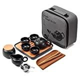 Tetera china con bandeja, colador de té de cerámica, bolsa de regalo todo en uno portátil para picnics al aire libre
