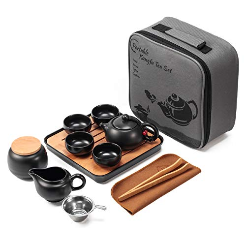 Lyty Chinese Tea Pot Cup Set with Tray Infuser - Travel Ceramic Tea set Porcelain Teapot, Portable All in One Gift Bag for Outdoor Picnic Business Hotel (Black)