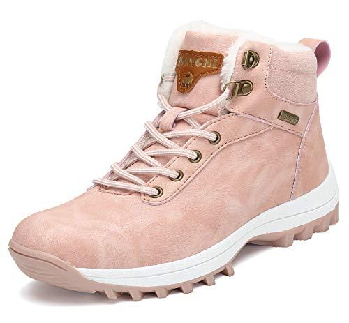 Pastaza Hombre Mujer Botas de Nieve Senderismo Impermeables Deportes Trekking Zapatos Invierno Forro Piel Sneakers Rosa,37EU