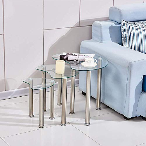 Nesting Table Nest of Tables Coffee Table Side Table End Table for Living Room Bedroom Reception Room Set of 3 Glass Tabletop Oval(Clear)