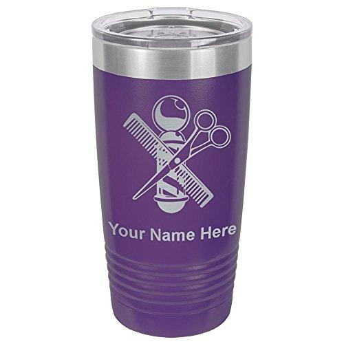 20oz Vacuum Insulated Tumbler Mug, Barber Shop Pole, Personalized Engraving Included (Dark Purple)