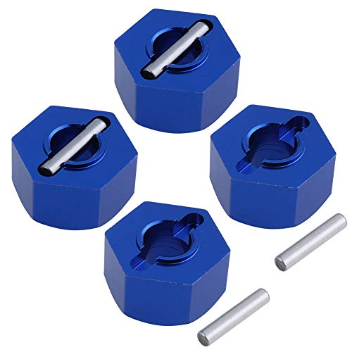 Hobbypark Aluminum 12mm Hex Wheel Hubs Nuts w/Pins Replacement of 1654 for RC Traxxas 1/10 Slash 4x4 & Stampede 4WD (4-Pack) (Navy Blue)