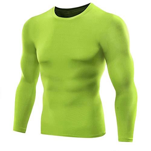 N\P Medias de manga larga para hombre, camisa de fondo, camiseta deportiva para correr, camiseta de fitness