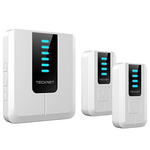 TECKNET Kabellose Türklingel, 2 Sender 1 Empfänger mit 300m Reichweite, 52 Melodien und LED Anzeige