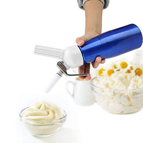 DERCLIVE Dispensador de crema batida de 500 ml batidor de crema portátil Foamer para postres de café de fiesta en casa azul