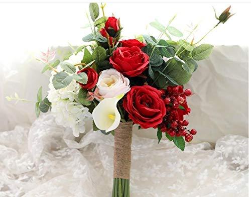weichuang Ramos de boda de color rojo, rosa, rojo, púrpura, de imitación de té, de rosa, de bayas, de novia, de eucalipto, con flores (color: rojo)