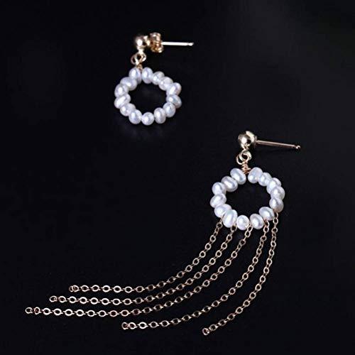 LOt Pendientes de Botón para Mujer Diseñador Hecho a Mano Diy14K Oro Perla de Agua Dulce Natural Pendientes de Borla Pendiente de Gotaperla