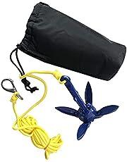 Kajak Anker Kit. Draagbare Vouwen Anker Boei Kit Met 16.4ft Touw En Opbergtas. Kano Motorboot Paddle Board Boot Anker Accessoires