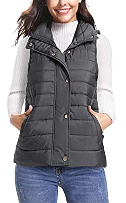 iClosam Women's Winter Puffer Vest Lightweight Packable Down Vest Quilted Jacket Coat Grey