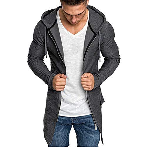 Giubbotto Uomo Invernali Cappotto per Uomo Camicetta Outwear Manica Lunga Cardigan Giacca Giubbotto Trench Solido con Cappuccio (M,Grigio)