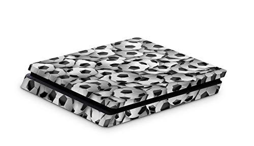 Skins4u Aufkleber Design Schutzfolie Vinyl Skin kompatibel mit Sony PS4 Playstation 4 Slim Viele Fussbälle