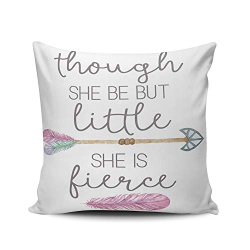 ONGING Decorative Throw Pillow Case Purple and White Nursery Little Fierce Arrow Tribal Feather Pillowcase Cushion Cover One Side Design Printed Square Size 18 x 18 inch