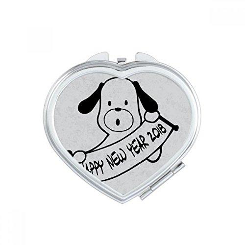 DIYthinker Bonne Année 2018 Drôle Big Dog Coeur Maquillage Compact Miroir de Poche Miroirs Mignon Petit Cadeau Portable à la Main Multicolor