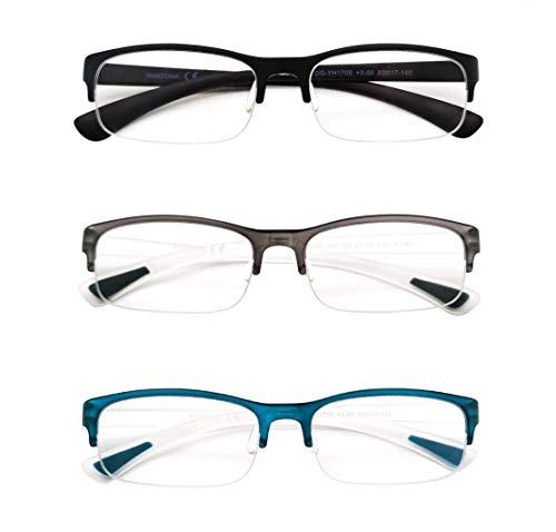 PANTONA-Pack3 Gafas de lectura Media Montura Rectangular,Gafas Presbicia Medio Marco Gafas Vista cansada Ultra Ligera para Hombre y Mujer.Negro Gris Azul+250