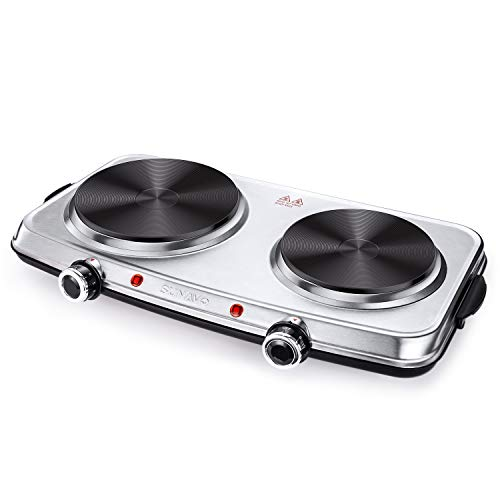 SUNAVO Hot Plates for Cooking, 1800W Electric Double Burner with Handles, 6 Power Levels Stainless Steel Hot Plate for Kitchen Camping RV and More