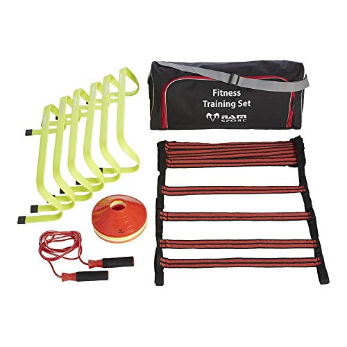 RAM Sports - Top Koordinationstraining Set für Indoor Outdoor Training - 6x Hürden, 5m Trainingsleiter, 20x Hütchen und Springseil