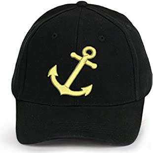 4sold Men Women 100% Cotton Ancient Mariner, Captain Cabin Boy Crew First Mate Yachting Baseball Cap Inscription Lettering Black Gold (Anchor)