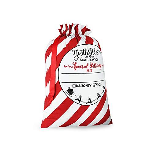 Blank Personalized Santa Sack Large Christmas Presents Sacks Bags with Drawstring Xmas Gift Decorations (Striped)