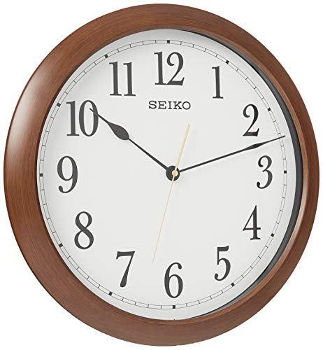 SEIKO 16' Numbered Wood Finish Wall Clock