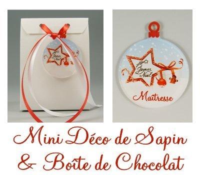 Boite de Chocolat & Déco de Sapin Joyeux Noël Maîtresse - Cadeau de Noël pour Maîtresse