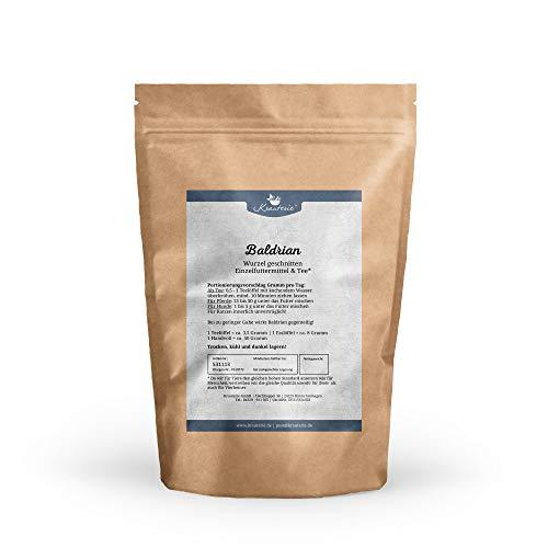 Krauterie Baldrian-Wurzel geschnitten in sehr hochwertiger Qualität, frei von jeglichen Zusätzen, als Tee oder für Pferde und Hunde (Valeriana officinale) – 100 g