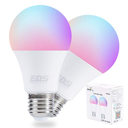 EDS SERVICE Alexa WiFi Smart Bulbs (9W), APP o Control de voz E27 Bombilla LED sintonizable que cambia de color y blanco, funciona con Alexa y Google Home, Bombilla WiFi de 2.4Ghz (2Pcs)