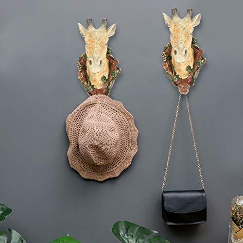 Gancho de pared, Gancho de cocina Gancho de ropa, Gancho sin clavos Gancho de toalla para baño Dormitorio Cocina Hogar(Giraffe (vintage))