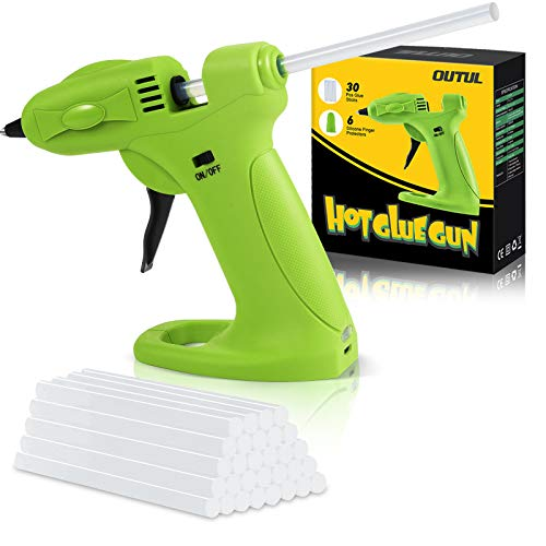 OUTUL Hot Melt Glue Gun, 2600mAh Lithium Hot Glue Guns with 30pcs Mini Glue Sticks,Cordless Use USB Rechargeable Melting Glue Gun Kit, for Kids DIY Arts, Crafts Projects with 6Pcs Finger Protectors