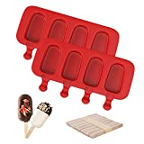 Ouddy Popsicle Molds, Set of 2 Silicone Ice Pop Molds 4 Cavities Homemade Cake Pop Mold Oval with 50...