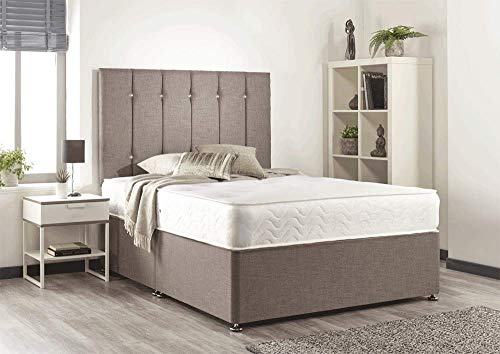 Bed Centre Snuggle Beige Linen Memory Foam Divan Set With Mattress, Headboard And No Drawers (Double (135cm X 190cm))