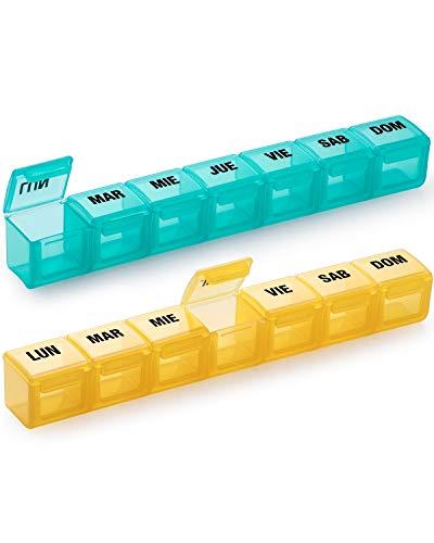 Pastillero Semanal 2 Tomas Español - Organizador de Medicamentos, con 14 Compartimentos (2 Pastilleros, Español)