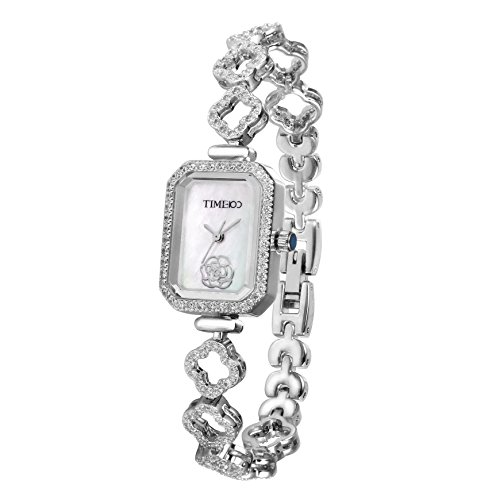 Time100 Reloj Cuarzo de Mujeres con Diamantes la Esfera Rectangular con Flores