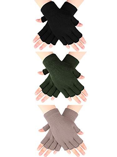 SATINIOR 3 Paar Halb Fingerhandschuhe Winter Fingerlose Handschuhe Strickhandschuhe für Männer Frauen (Braun, Schwarz, Armeegrün)