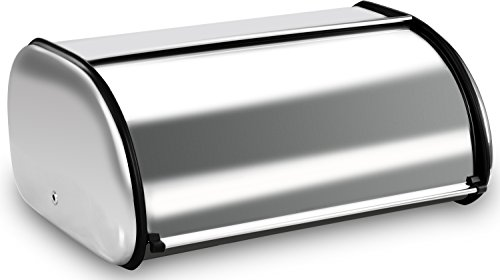 Utopia Kitchen Bread Storage Box - Stainless Steel Construction with Roll up Lid for Kitchen