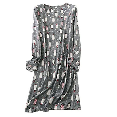 ENJOYNIGHT Camisón de noche para mujer, manga larga, algodón, camiseta estampada, cuello redondo, ropa de noche, pingüino, L