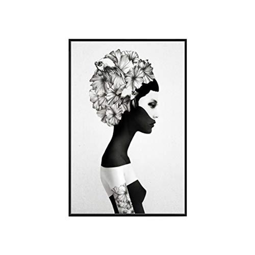 YUHT Wandkunst,Leinwand Gemälde,Moderne minimalistische Leinwand Kunstdruck,Mode mysteriöse Mädchen abstrakte schwarz-weiß Wandkunst Malerei für Wohnzimmer Schlafzimmer Hauptdekorationen, Black